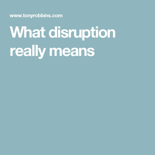 What disruption really means