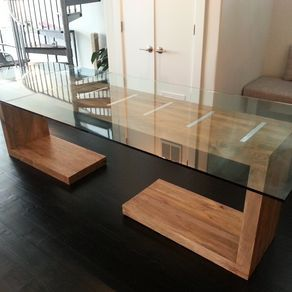 Gentil Glass Top Dining And Side Table By Adam Cohen