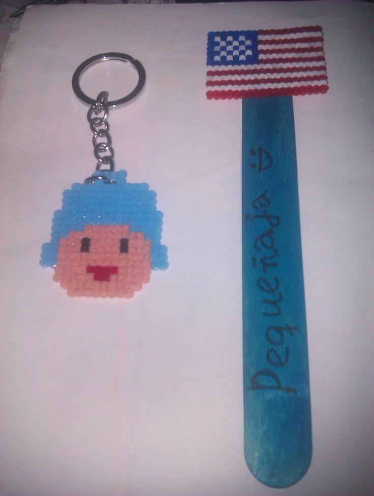Llavero Pocoyo. Marcapáginas bandera EEUU. Hama beads mini.