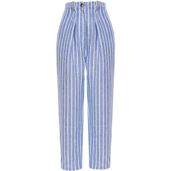 Anna October Striped Linen High Waist Pants (5 905 ZAR) ❤ liked on Polyvore featuring pants, stripe, high rise pants, high-waisted trousers, stripe pants, linen pants and high waisted pleated pants