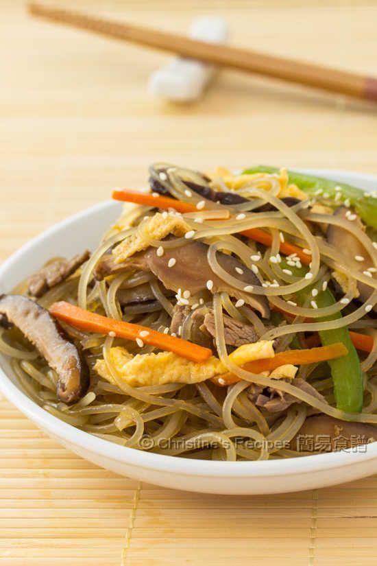 Korean Stir-Fried Sweet Potato Noodles - healthy and quick.