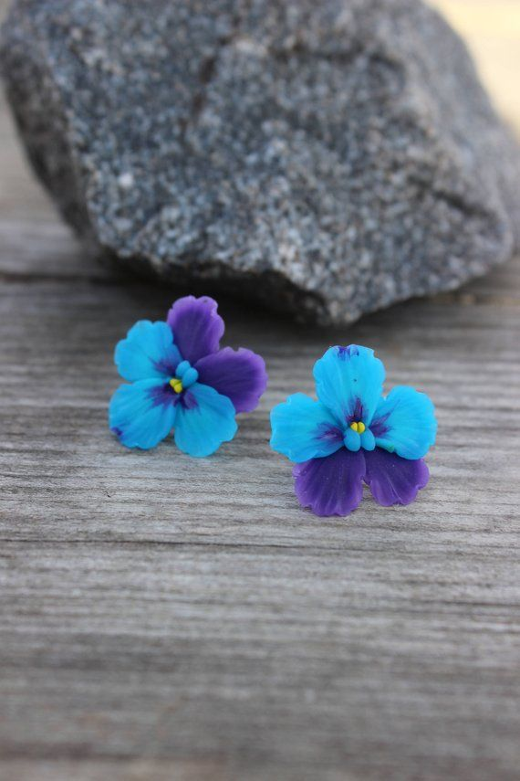 Polymer Clay Jewelry Floral Jewelry Pansies Stud Earrings