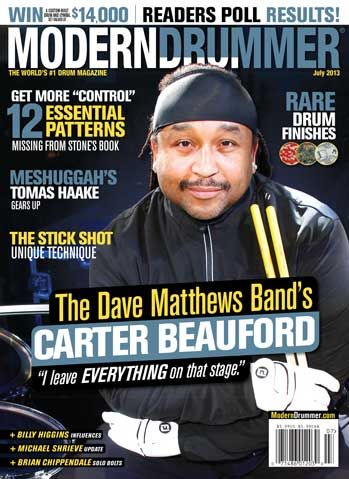July 2013 Issue of Modern Drummer featuring Carter Beauford