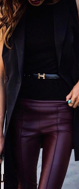 purple leather pants
