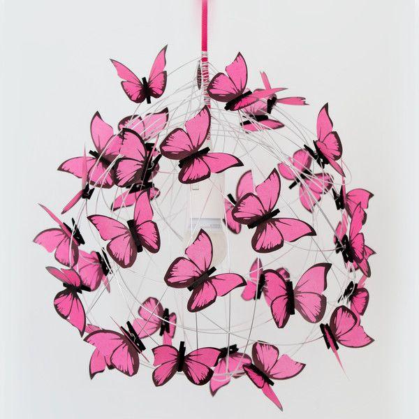 Lampade da soffitto - Lampada da soffitto con farfalle di carta fucsia - un prodotto unico di Marcela-Delacroix su DaWanda