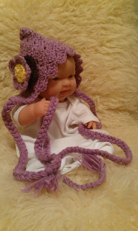 Crochet Newborn Pixie Hat with Flower by ConnMor Creations on Etsy, $17.00