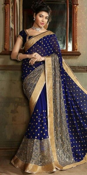 Lovely Embroidered Pallu Saree in Royal Blue Color.