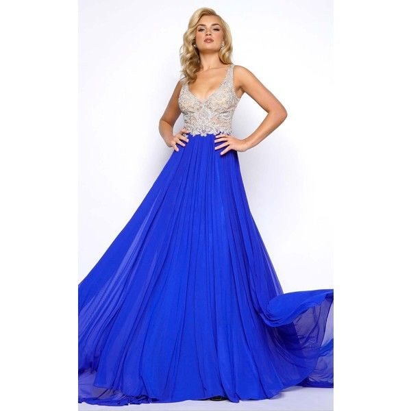 Mac Duggal 20060 Prom Dress 2017 Long V-Neck Sleeveless ($598) ❤ liked on Polyvore featuring dresses, gowns, formal dresses, royal blue, royal blue ball gown, royal blue evening gown, long evening gowns, formal evening gowns and blue prom dresses
