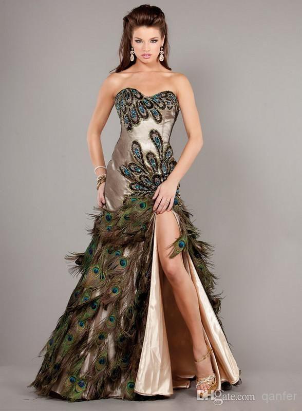 cheap mermaid peacock prom dresses 2018