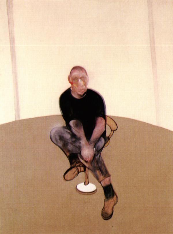 """Francis Bacon, 1909-1992, peintre britannique, son œuvre se déploie en grands triptyques mettant en scène sa vie, ses inspirations comme à ses débuts, le surréalisme et Picasso. Autodidacte, il provoque un scandale en 45 par la violence expressive des corps tordus et disloqués de """"Trois études de figures au pied d'une crucifixion"""". Il prône que la violence doit résider dans la peinture elle-même, et non dans la scène."""