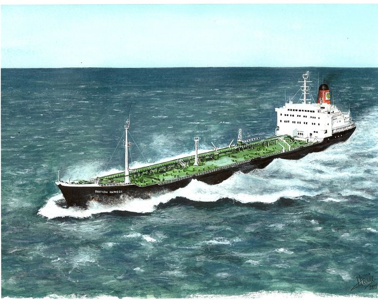 "The 25,000 ton product carrying BP Tanker M.V. ""British Humber"" crossing the English Channel in the late 1970's. Medium: watercolor on 9"" x 11' watercolor paper."