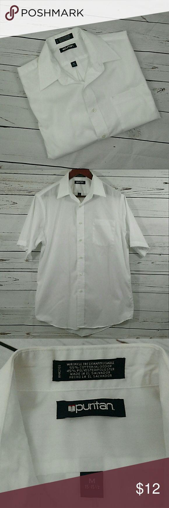 Puritan white short sleeve dress shirt Sz M 15- 15 1/2 1 left pocket , short sleeves, button up, wrinkle free Puritan Shirts Dress Shirts