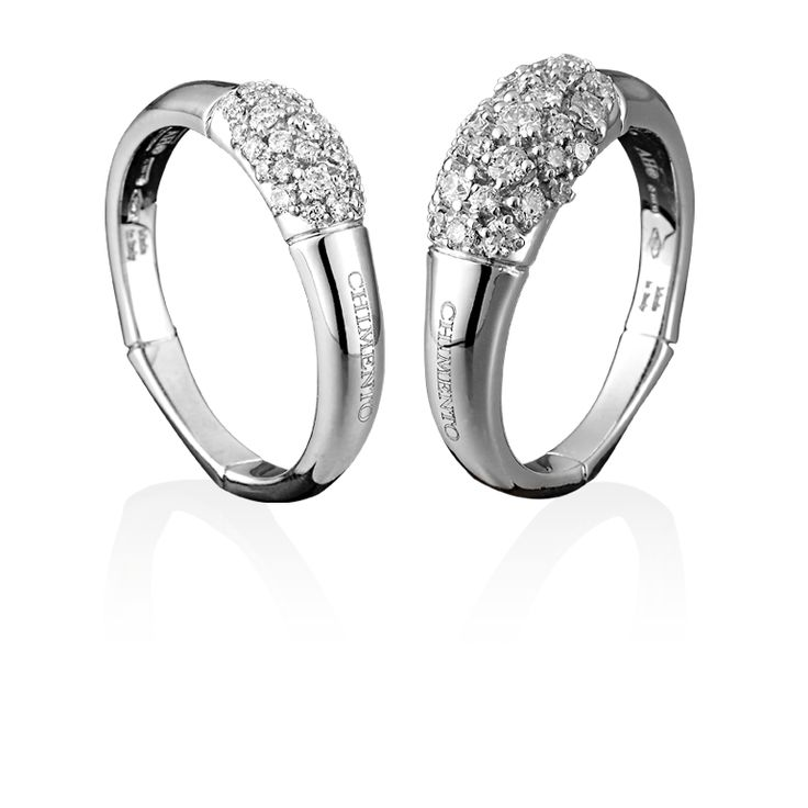 CHIMENTO Bamboo Cluster white gold rings with diamonds.