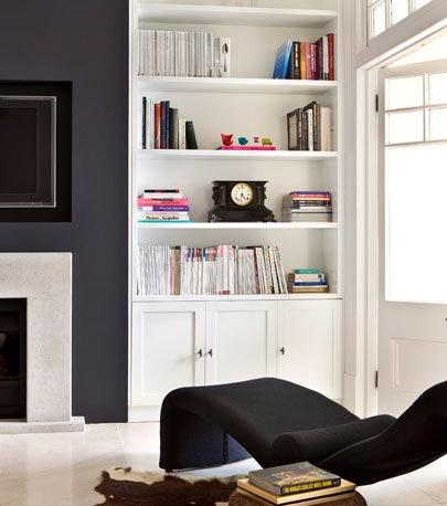 Monochrome living room - shelves to put on the left.
