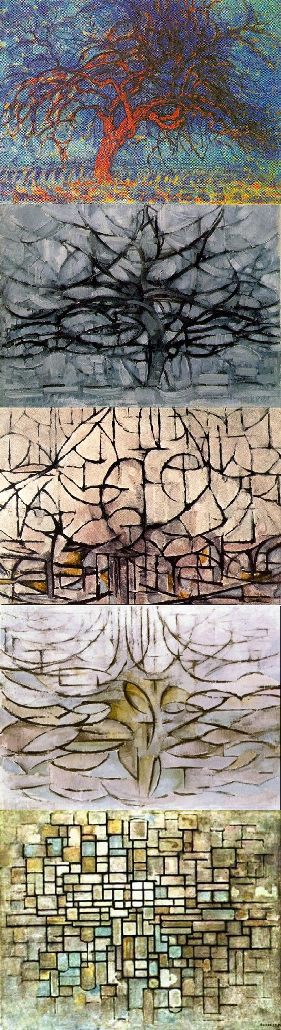 Mondrian's Trees My favorite series of paintings. Love the point between representation and abstraction and the still painterly style.