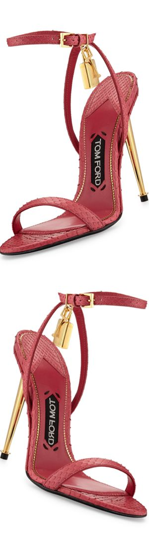 TOM FORD Lock Ankle-Wrap Python #Sandals #omgshoes #beautyinthebag