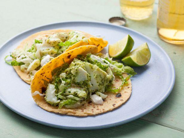Halibut Fish Tacos with Cilantro Savoy Slaw Recipe : Food Network Kitchens : Food Network - FoodNetwork.com