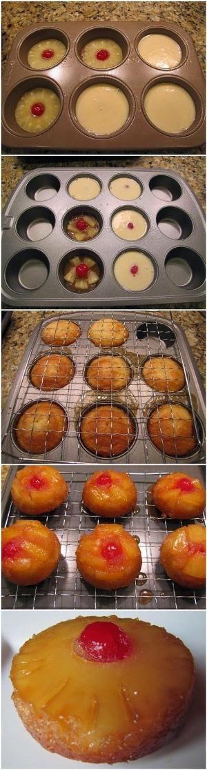 Mini abacaxi bolos cabeça para baixo.  Açúcar mascavo cobertura com abacaxi e bolo.  Eles são deliciosos e muito fácil de fazer.  por andrea