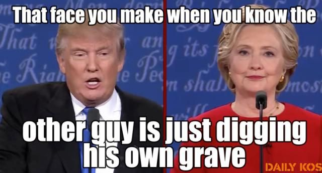 A roundup of must-see memes lampooning Donald Trump, Hillary Clinton, and the failed presidential candidates.: Digging His Own Grave