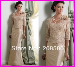 Unique Gold Appliqued Lace Mother of the Bride/Groom Gowns Dresses With Jacket M1225