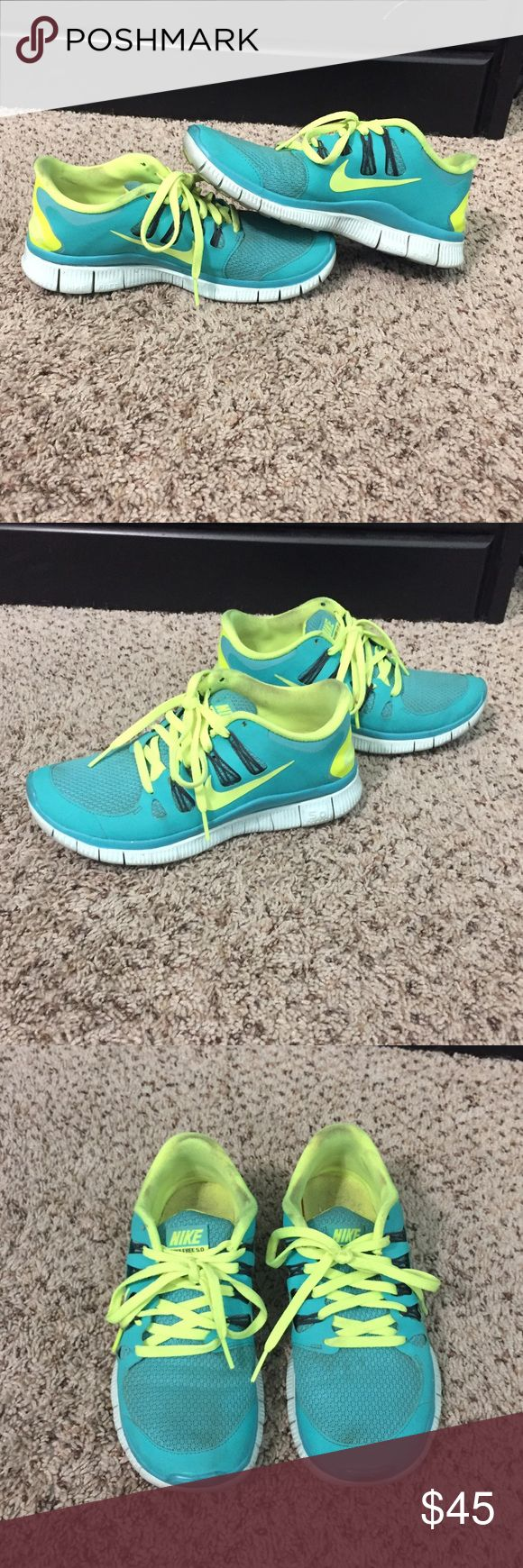 Nike Free 5.0 Teal & light lime green/yellow color. I will wash upon request but only if you pay full asking price. Nike Shoes Athletic Shoes