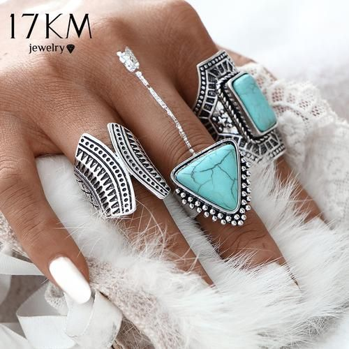 17KM 3pcs/Set Boho Vintage Punk Silver Color Stone Midi Finger Rings For Women /Men Bohemian Ring Set Jewelry Anillos