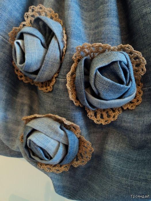 denim rose .....for bag embellishment diy #craft sewing # recycled old jeans #upcycle #++ ROSAS FLORES DE TELA TEJANA DE PANTALONES RECICLADOS REUTILIZADOS DECORAR BOLSA MANUALIDAD COSER COSTURA