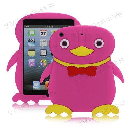 3D Cute Penguin Rubberized Soft Silicone Protective Case Cover for iPad Mini - Rose - iPad Mini Silicone Cases