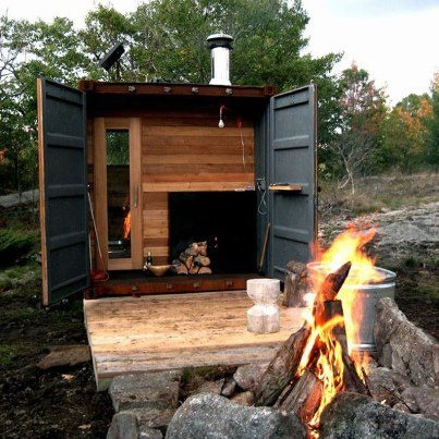 Not a tiny house, but could be - or be expanded on. Nice example of a shipping container being used for useable space.    http://www.designboom.com/architecture/shipping-container-is-transformed-into-a-sauna-by-castor-canadensis/