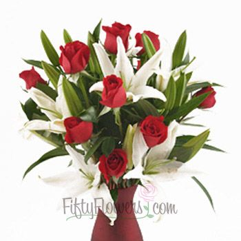 FiftyFlowers.com - Red Roses with Lilies Valentine's Day Bouquet