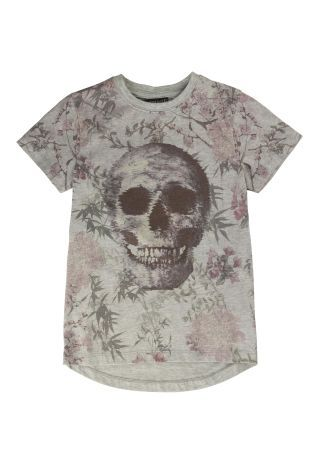 Grey Floral Skull T-Shirt (3-16yrs)