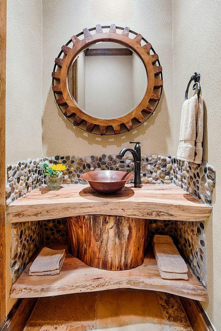 badmöbel rustikal badspiegel mit holzrahmen