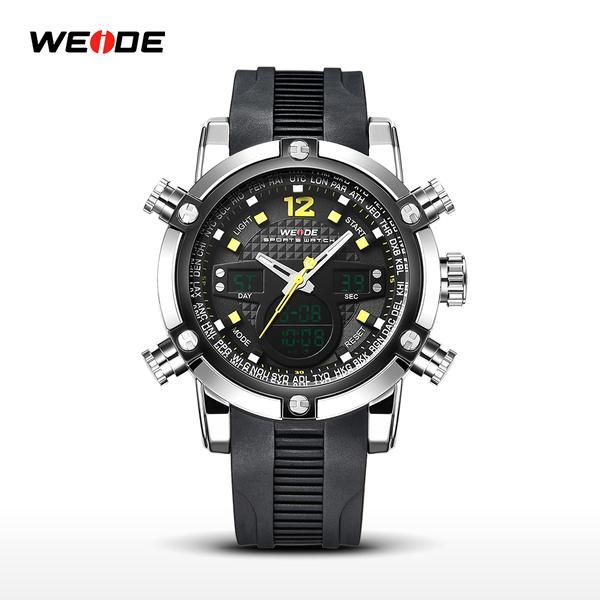 Overview of Weide Sport Watch Silicone 30M Water Resistance - WH5205  Jam tangan Weide WH5205 hadir dengan interface penunjuk waktu, tanggal, dan hari yang modis dan elegan. Strap terbuat dari bahan material Silikon yang kuat dan tahan air. Sangat cocok digunakan untuk kegiatan sehari-hari.  Features  Advanced Manufacturing Technology Jam tangan Weide WH5205 menggunakan modul digital dan analog Quartz Japan yang dapat menampilkan hari, tanggal, dan waktu. Strap terbuat dari bahan material…