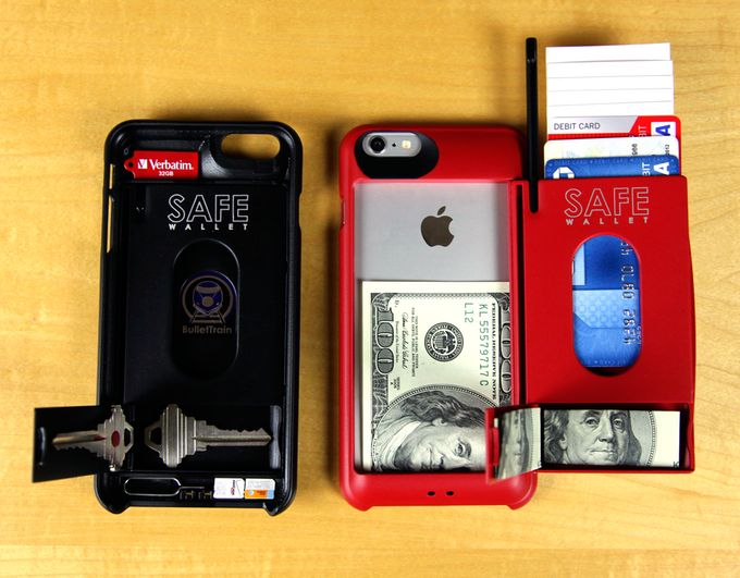 Photo above shows the diversity of options for storage in all four stealth compartments in the SAFE Wallet for iPhone 6 Plus