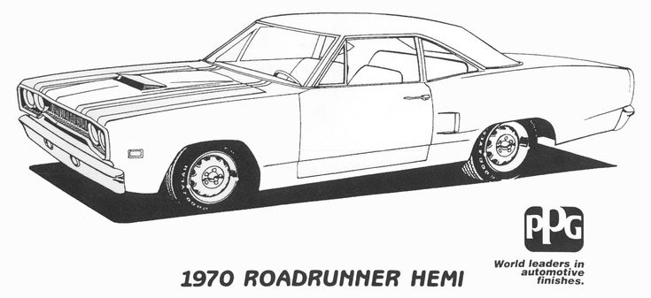1970 Roadrunner Hemi Coloring Page From PPG Stuff To Buy