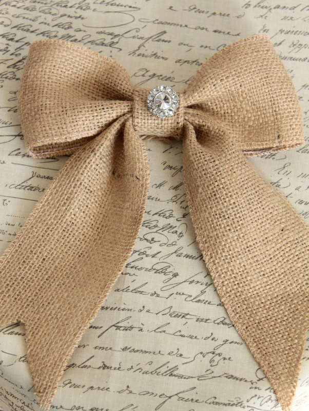 Burlap bow with vintage inspired rhinestone
