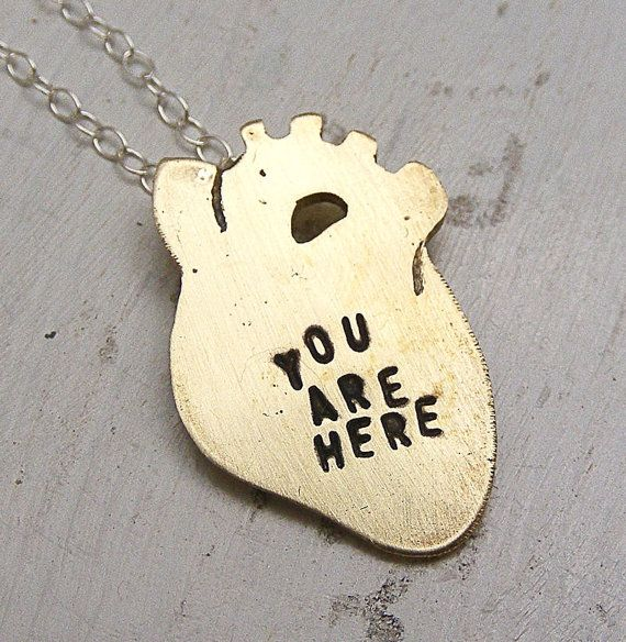 'You are here' heart necklace