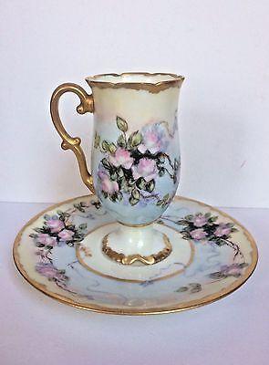 Antique LIMOGES FRANCE D & C Pedestal Demitasse Cup & Saucer Pink Roses Gilt