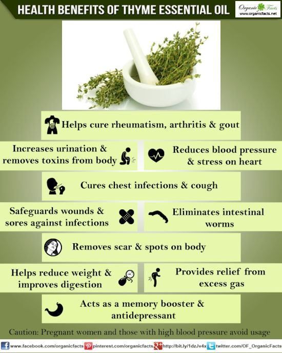 The health benefits of Thyme Essential Oil can be attributed to its properties like anti spasmodic, anti rheumatic, anti septic, bactericidal, bechic, cardiac, carminative, cicatrisant, diuretic, emenagogue, expectorant, hypertensive, insecticide, stimulant, tonic and vermifuge.