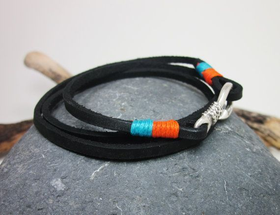 Fish Hook Bracelet in Black Leather, Orange Blue Rope, Unisex Bracelet, Fish Hook Bracelet, Anchor Bracelet, Mens and Women Bracelet MEASUREMENT: Select the measure on your wrist from Optimum Measurement Table. Measure the dimensions of wristbands in a straight line in this table. To