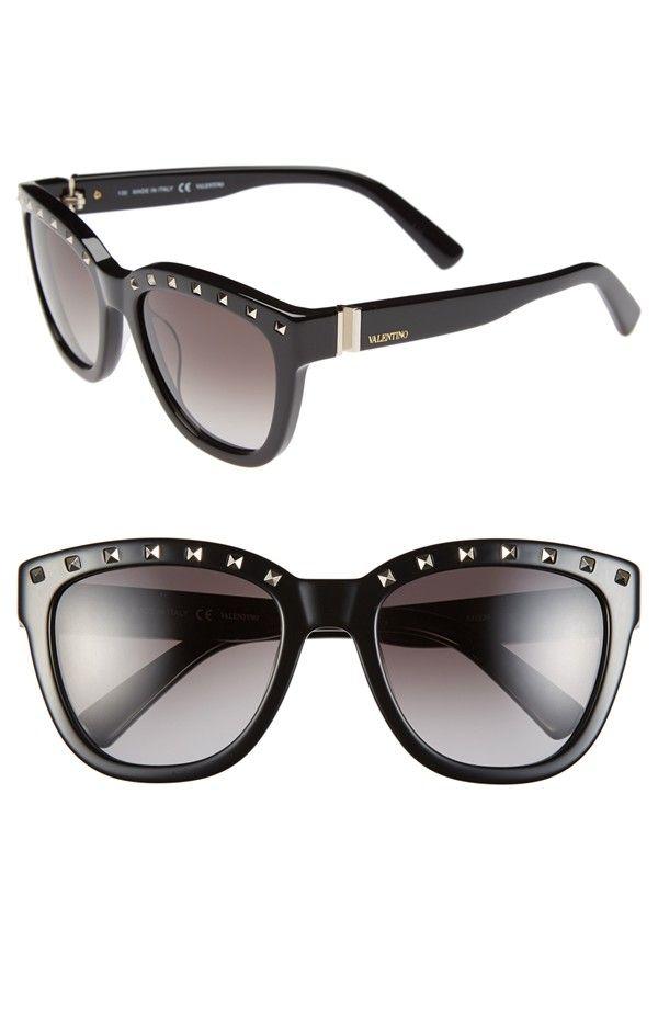 VALENTINO 'Rockstud' 52mm Sunglasses in Black.