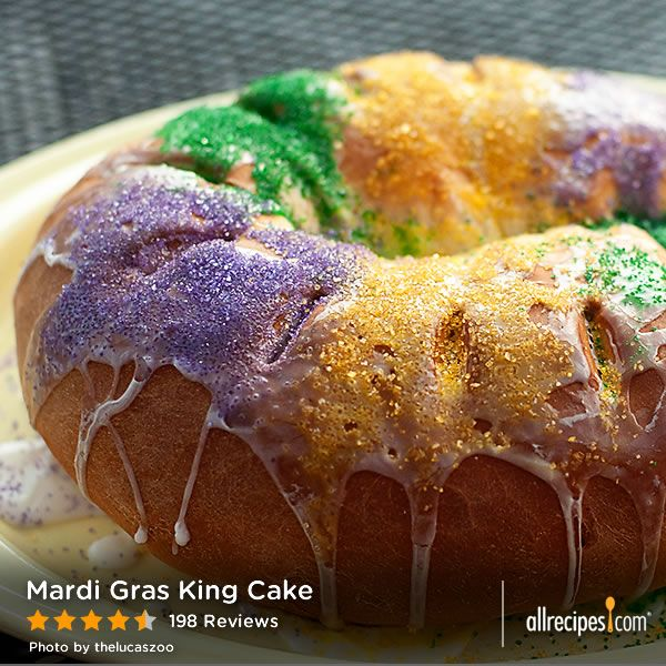 "Mardi Gras King Cake | ""This was my first King Cake. The recipe was great! I took it to work and it was highly praised. A long time New Orleans resident said that it looked and tasted authentic."""