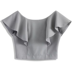 Chicwish Drift in a Frilling Grey Cropped Top