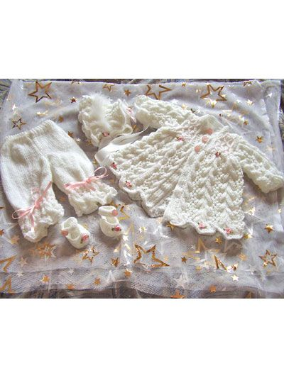 Knitting - Patterns for Children & Babies - Patterns for Outfit Sets - Feathered Lacy Coat Set