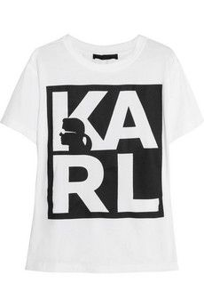 Karl Lagerfeld Amanda printed cotton-jersey T-shirt | NET-A-PORTER