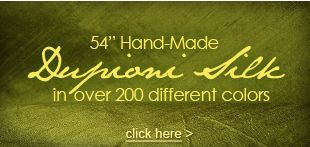"""54"""" Hand-Made Dupioni Silk in over 200 different colors"""