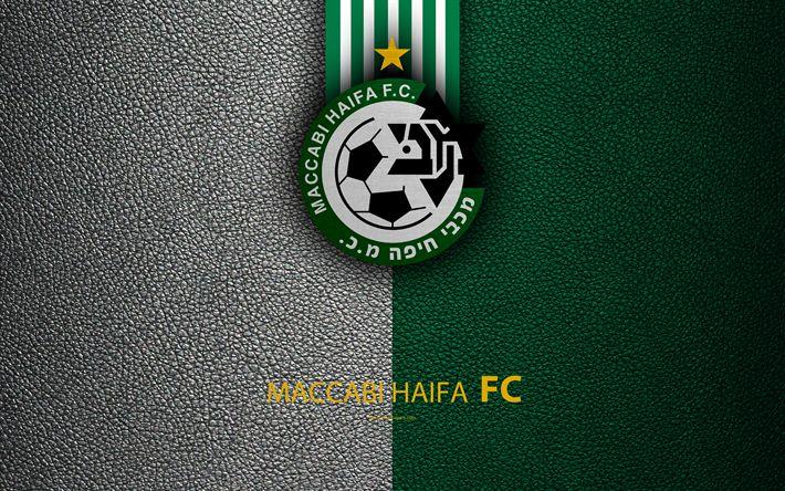 Download wallpapers Maccabi Haifa FC, 4k, football, logo, Maccabi emblem, leather texture, Israeli football club, Ligat HaAl, Haifa, Israel, Israeli Premier League