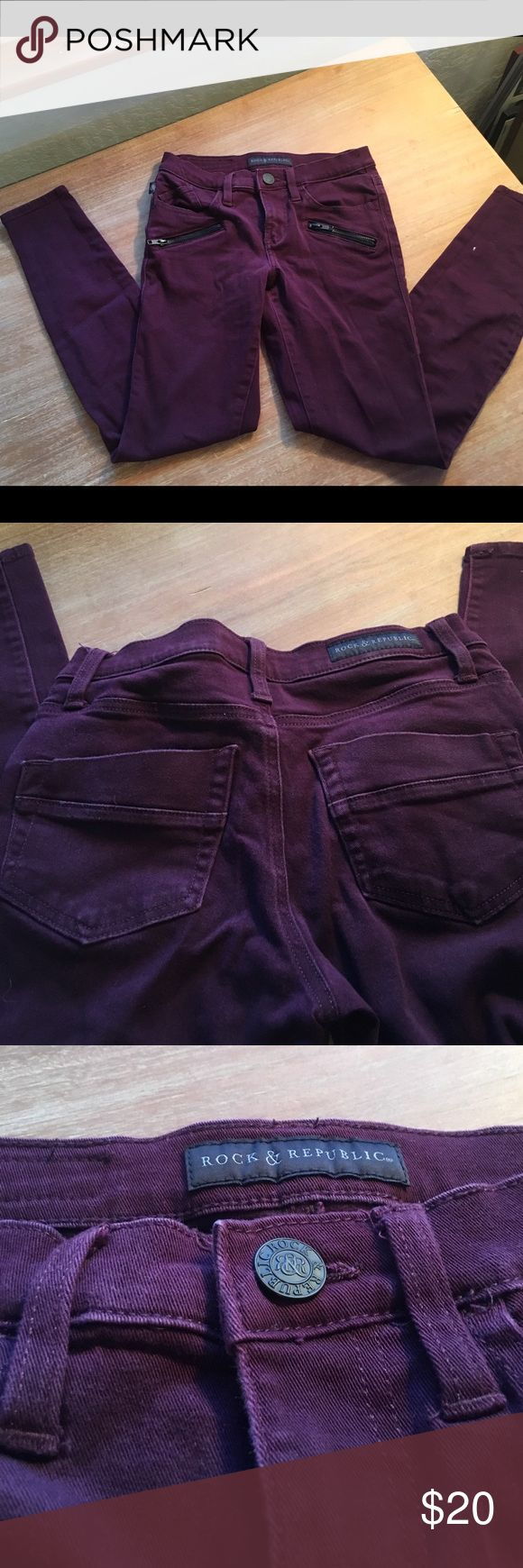 Maroon skinny jeans I absolutely love these jeans however sadly they are too small on me. They have black zippers under the pockets and nice stretchy fabric. They are short on me and I'm 5'9. Rock&Republic  Jeans Skinny