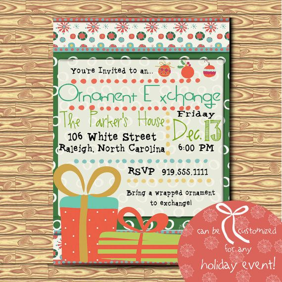 digital christmas ornament exchange invitation christmas party