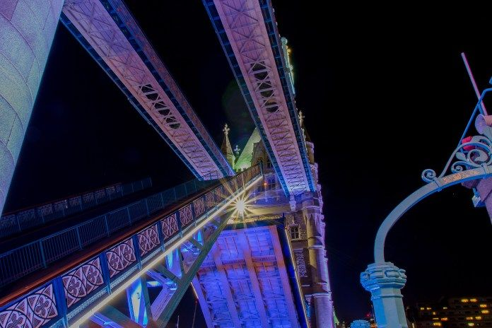 Tower Bridge rising for the boats passing below!!